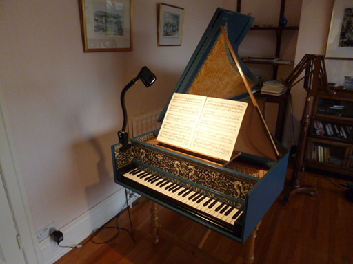 Zuckermann Flemish harpsichord with Concert Design Maestro Lamp. Courtesy Michael Coe, Wirral, U.K.