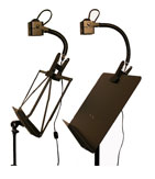 music stand, piano lamps